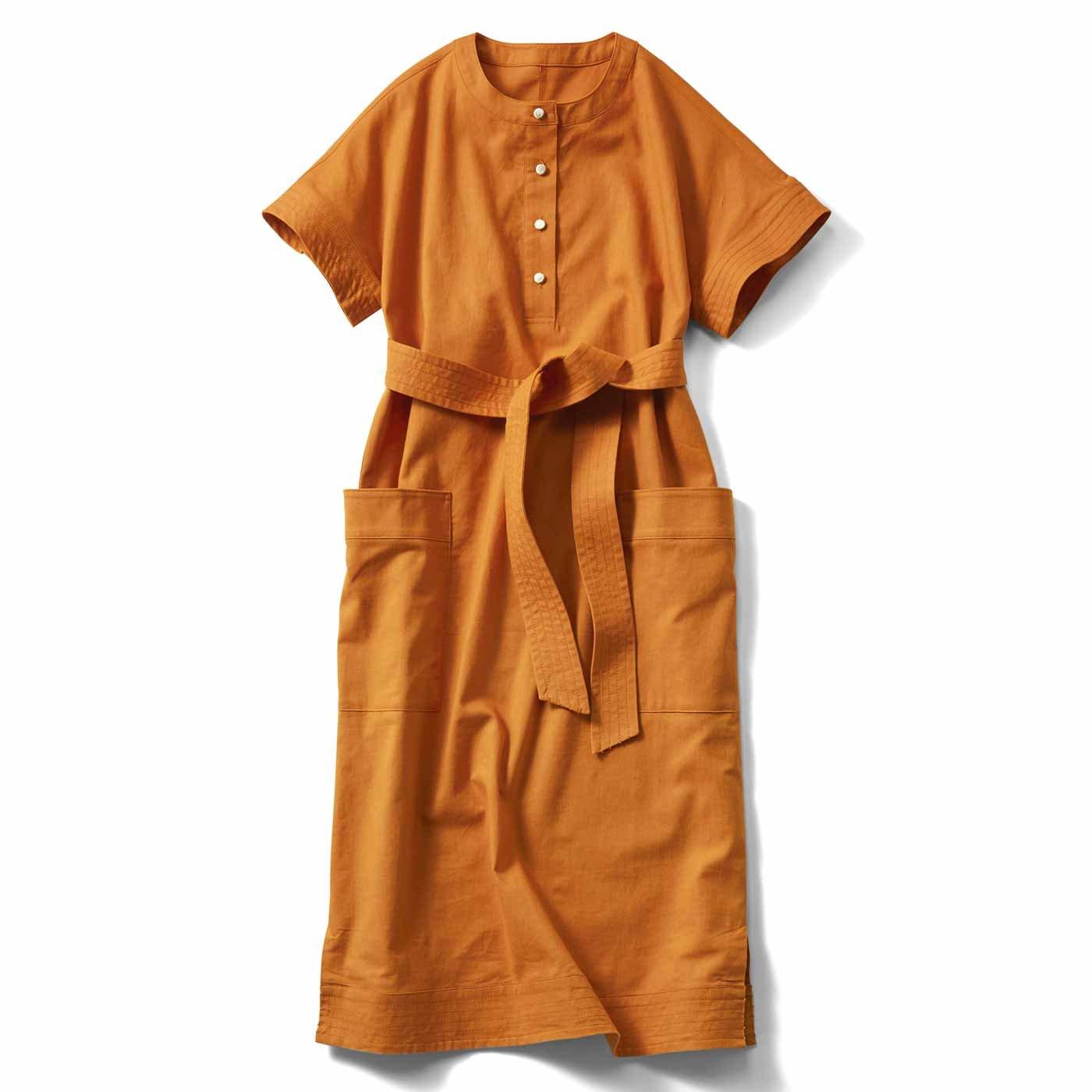 IEDIT[イディット] 小森美穂子さんとコラボ 綿麻素材がさわやか きちんとモードなベルテッドワンピース〈テラコッタオレンジ〉