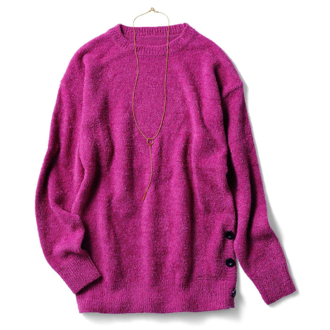 IEDIT×TOPLOG 冬のコーデが華やぐネックレス付きティントカラーニット〈ベリーピンク〉