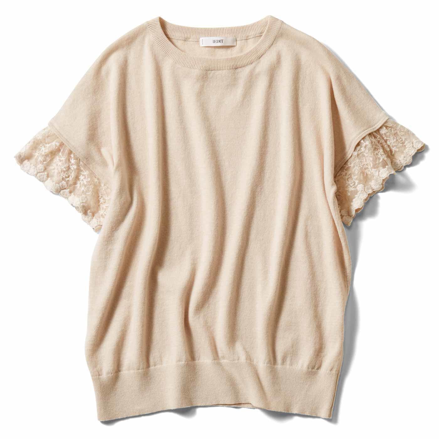 IEDIT[イディット] 綿素材で着心地快適 着映え袖レースニット〈ベージュ〉