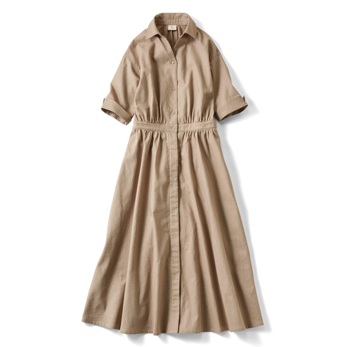 【3~10日でお届け】IEDIT[イディット] コットンリネンのオープンカラーシャツワンピース〈グレージュ〉