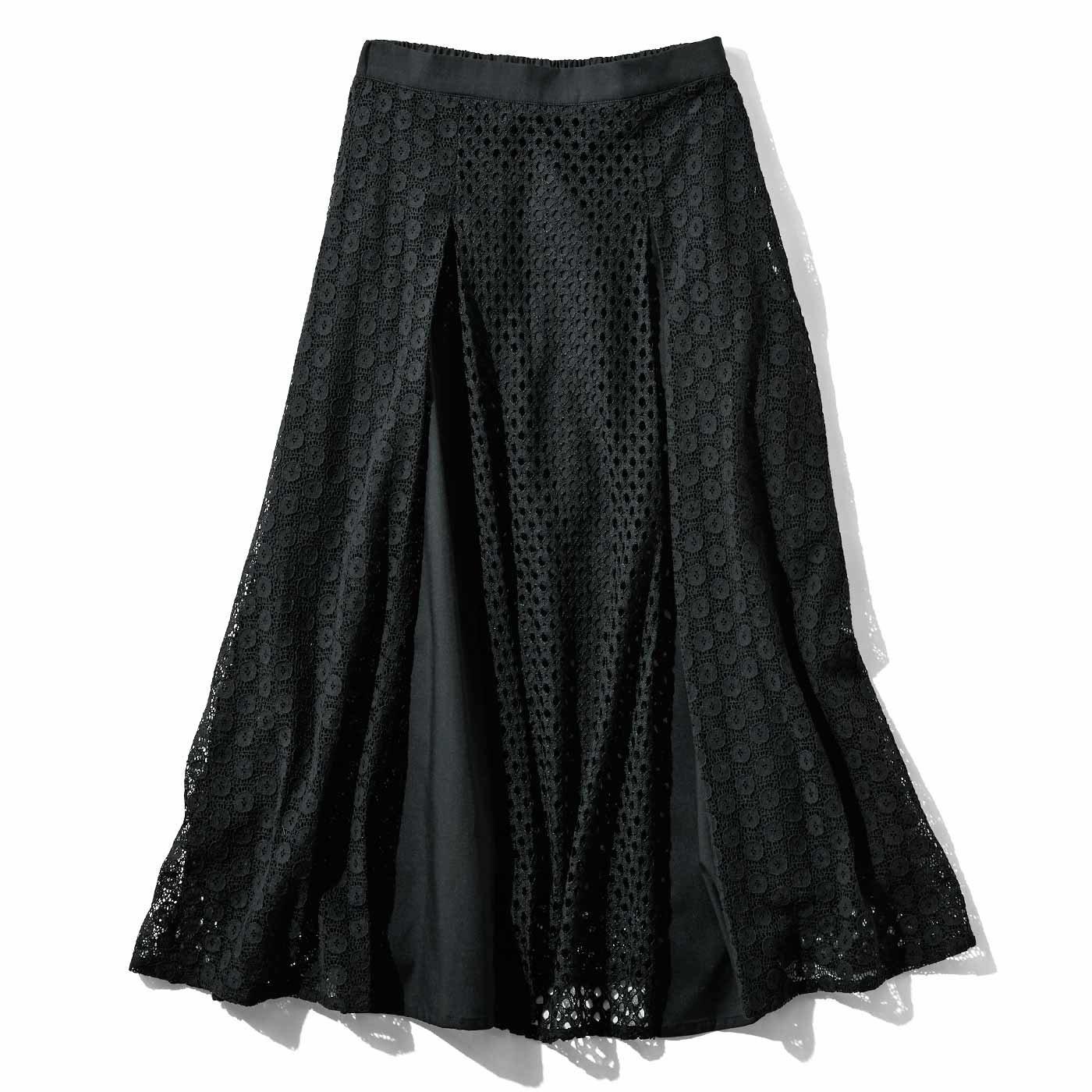 【3~10日でお届け】IEDIT[イディット] ぜいたくパネルレースのドラマティックロングスカート〈ブラック〉