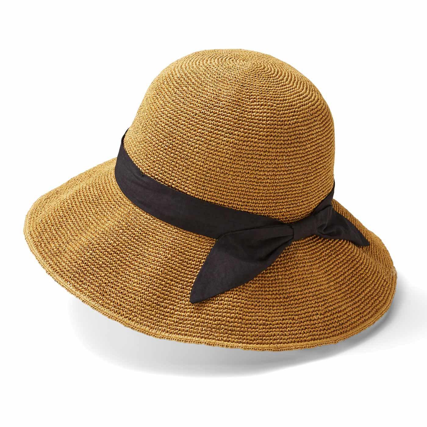 リブ イン コンフォート 涼やかに風が通る 上品つば広帽子〈ナチュラルベージュ〉