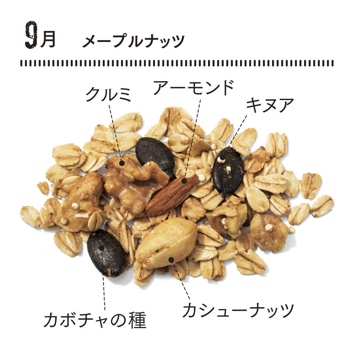 たっぷり入ったナッツとメープル、ブルーアガベのやさしい甘みがベストマッチ。ほのかにシナモンやカルダモンの香りも。