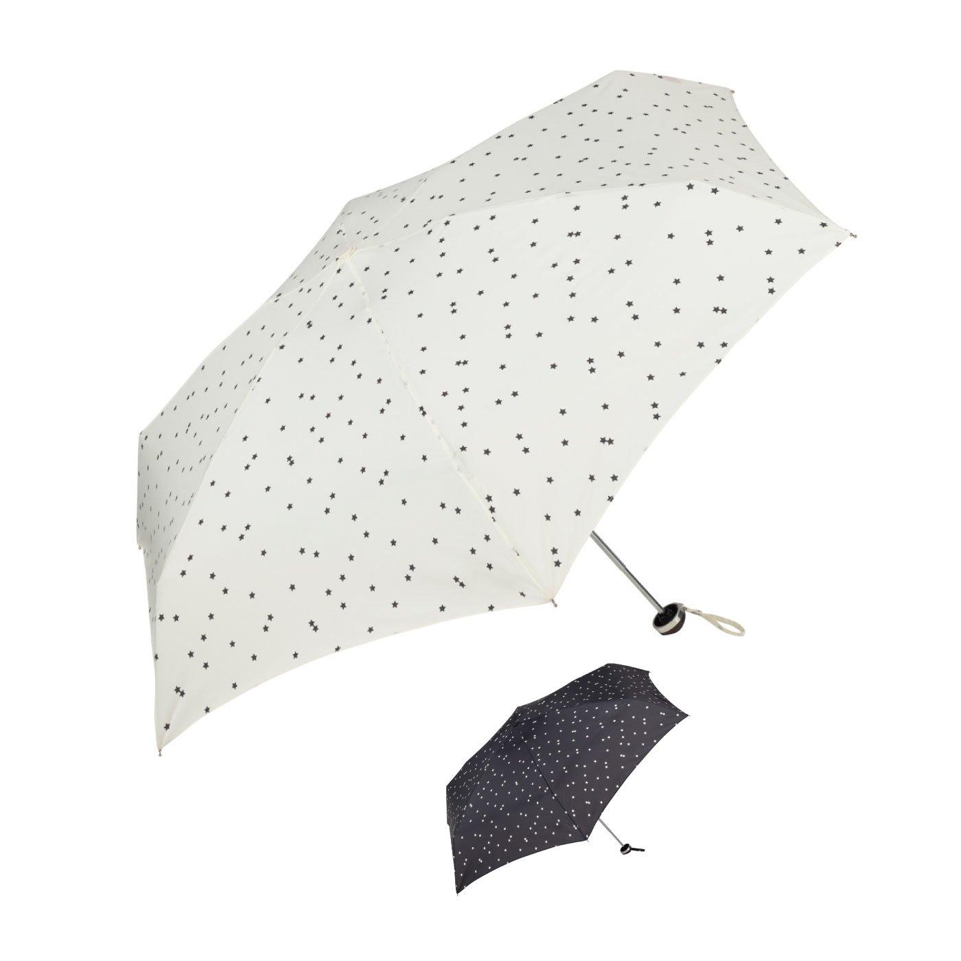 小さなスターがたくさん♪ ジッパーポーチ付き折りたたみ傘