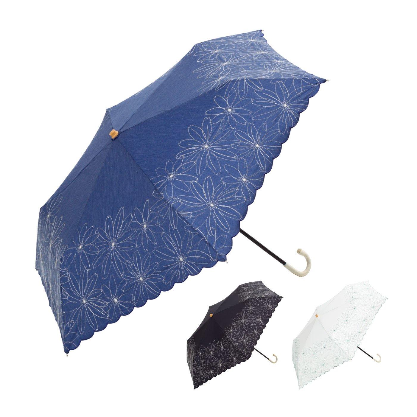 かわいくて上品なマーガレット刺繍折りたたみ傘
