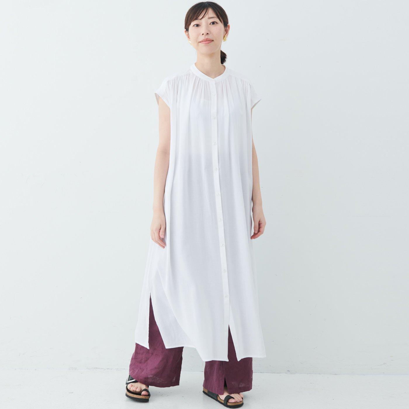 【WEB限定】IEDIT[イディット] 風通る涼やかなシルエットがうれしい レーヨン素材のフレンチスリーブロングブラウスシャツ〈ホワイト〉