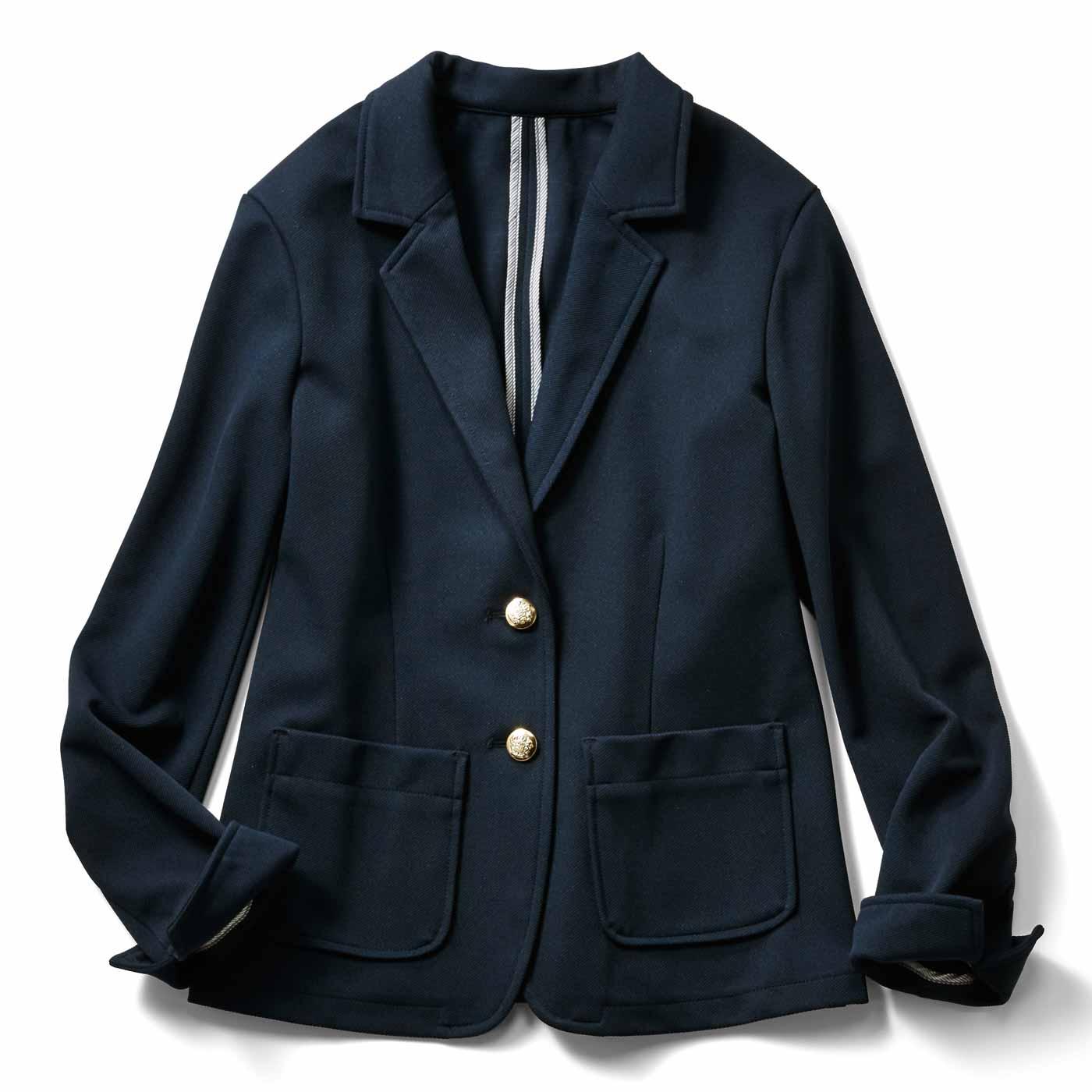 IEDIT[イディット] 着心地快適なカットソーツイル素材のネイビージャケット