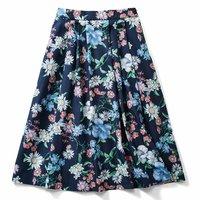 <フェリシモ>IEDIT[イディット] 華やか柄でコーディネイトが着映えする花柄フレアースカート〈ネイビー〉【送料無料】