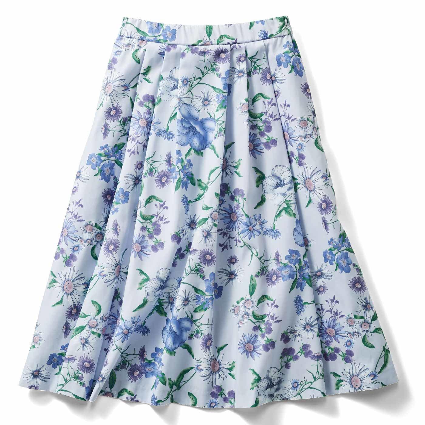 IEDIT[イディット] 華やか柄でコーディネイトが着映えする花柄フレアースカート〈グレー〉