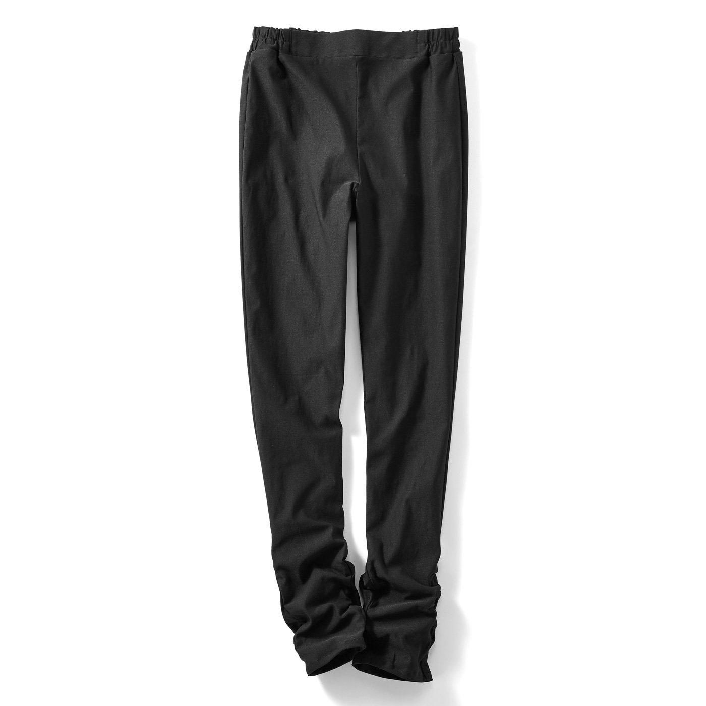IEDIT[イディット] ストレッチ布はく素材がきちんと快適 すそくしゅレギンスパンツ〈ブラック〉