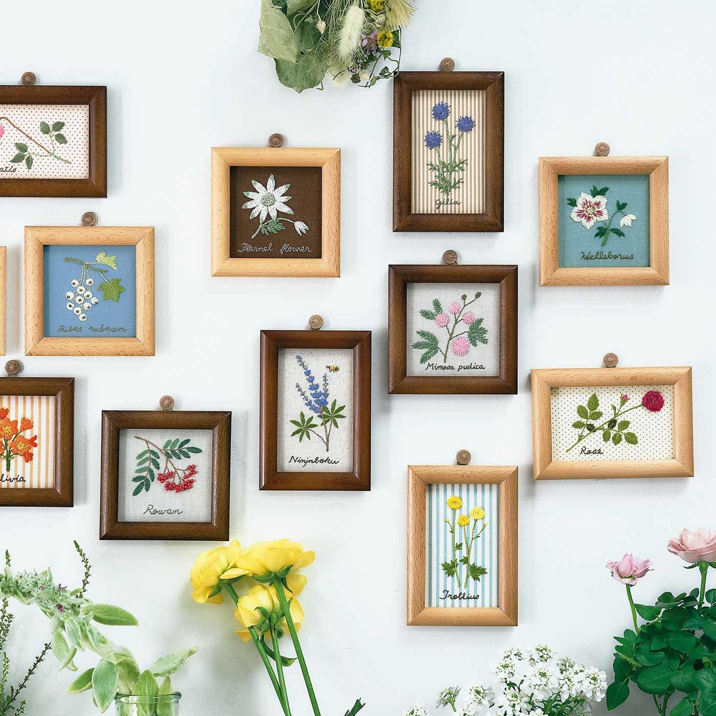 【3回エントリー】摘みたてを集めた 花と木の実のサンプラー刺しゅうフレームの会