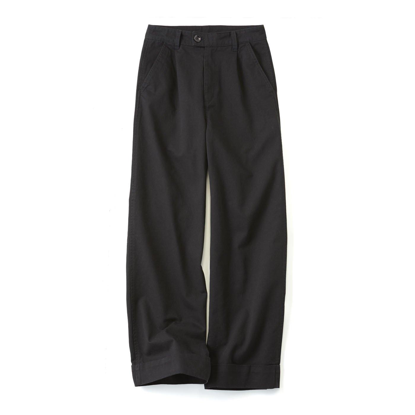 リブ イン コンフォート しっかり素材で脚のラインを カモフラージュ コットンワイドパンツ〈ブラック〉