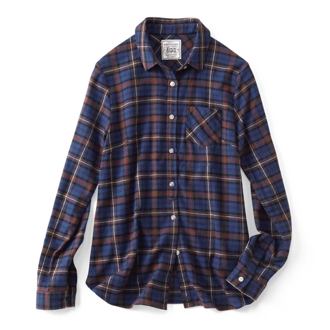 リブ イン コンフォート カシュクールにもなる 2-wayチェックシャツ〈ブルー×ブラウン〉