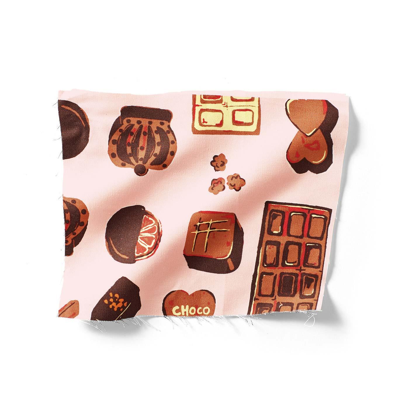 内生地はチョコレートバイヤーみりさん手描きの、キュートなチョコファブリック。