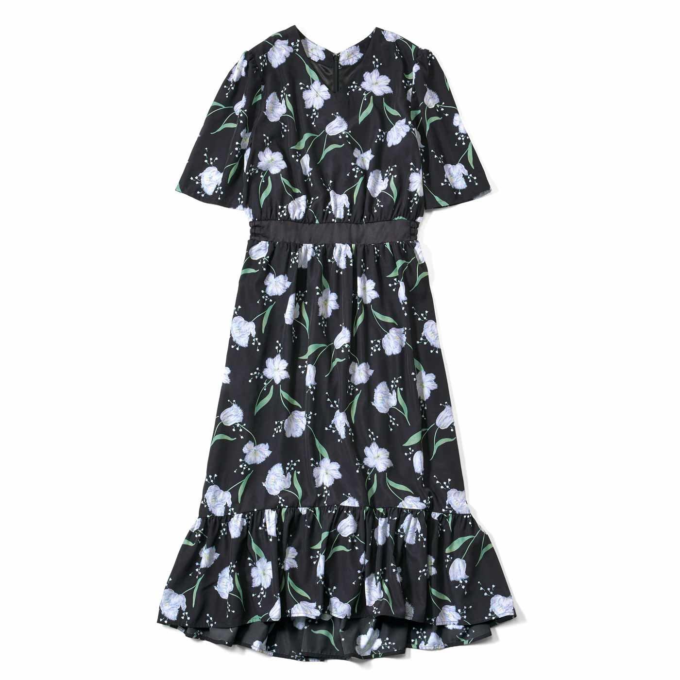IEDIT[イディット]  フラワープリントのイレギュラーヘム サマードレス〈ブラック〉