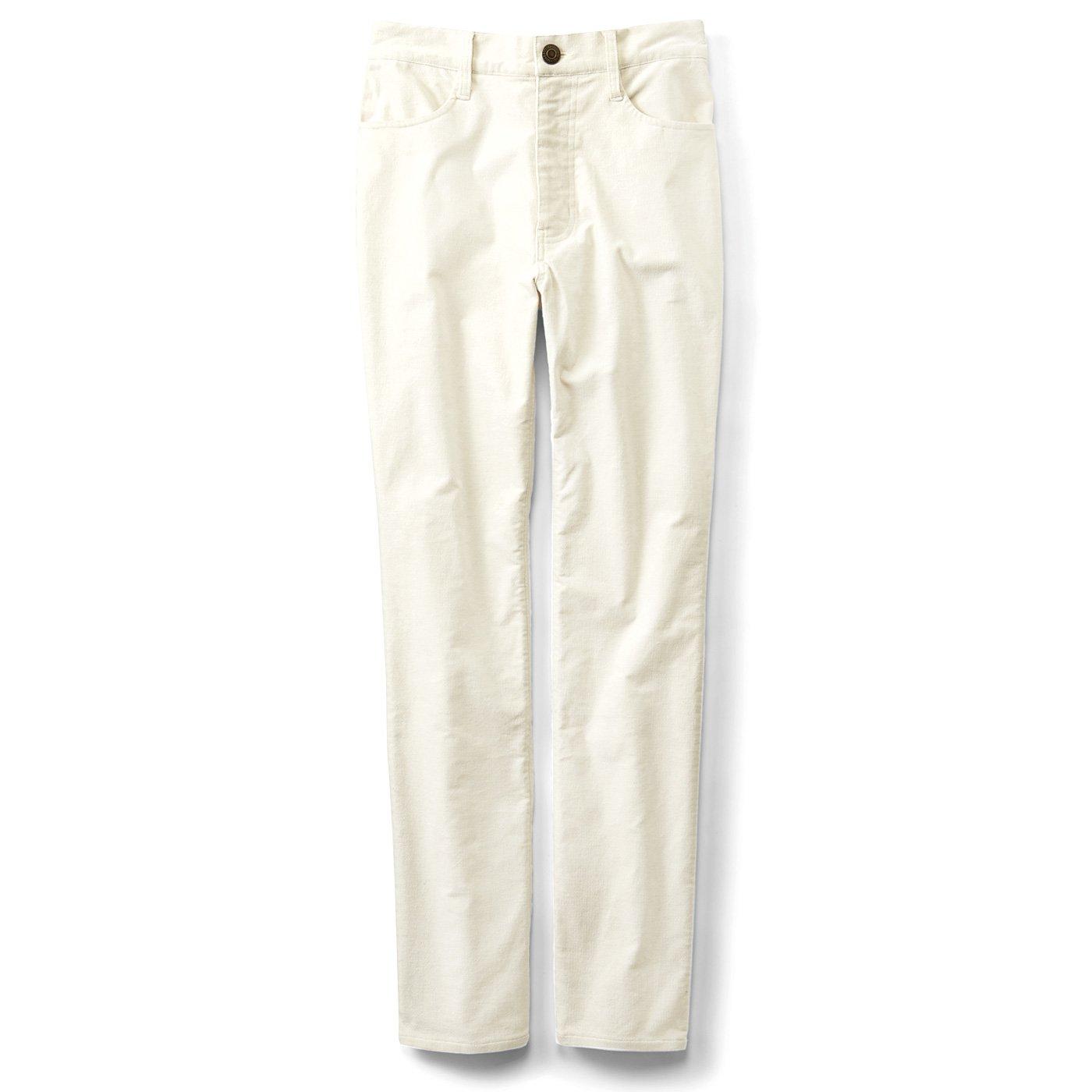 リブ イン コンフォート ダウンをはいて出かけよう! 後ろダウン仕様の暖か別珍パンツ〈ホワイト〉