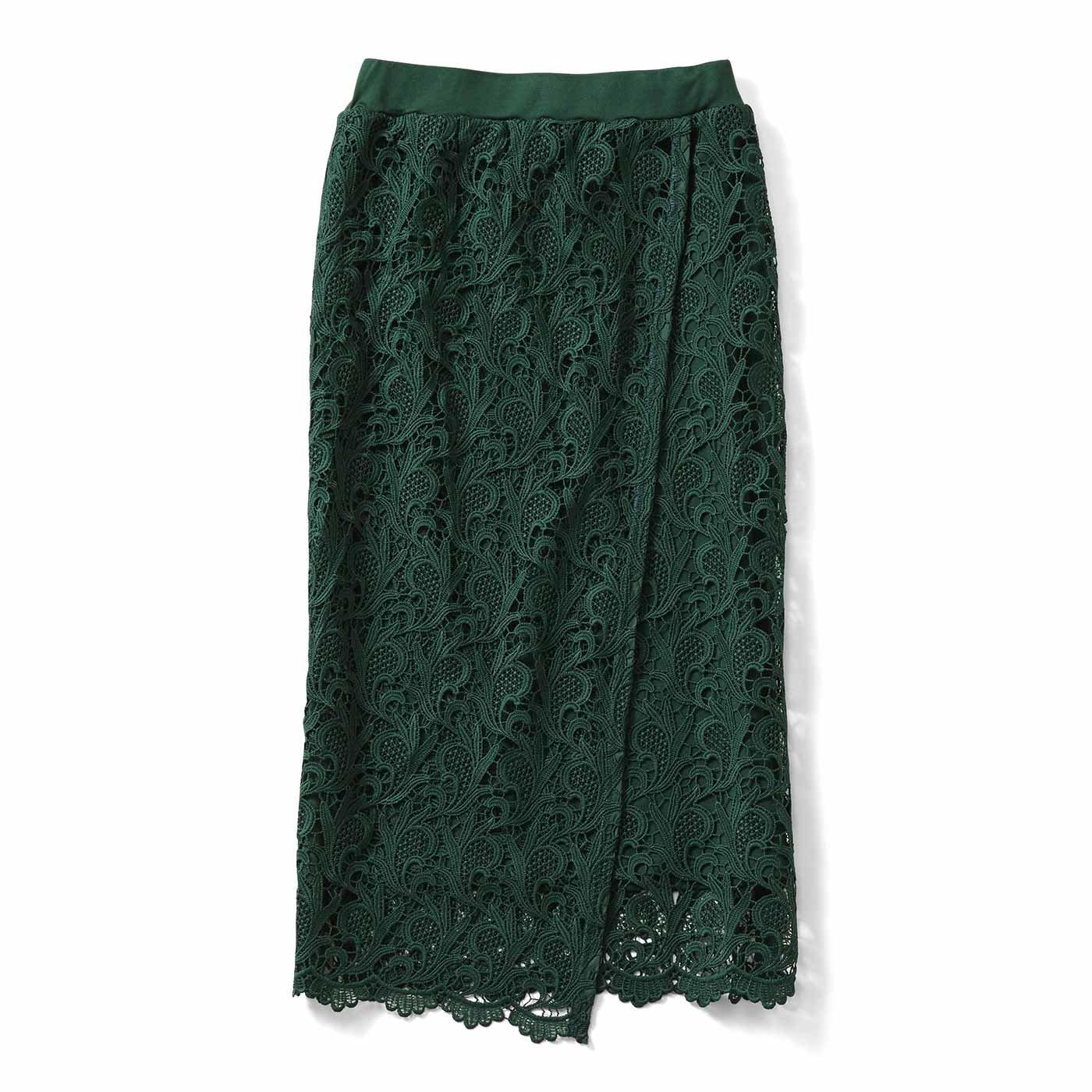 IEDIT[イディット] あったか裏地付き ラップデザインレーススカート〈グリーン〉