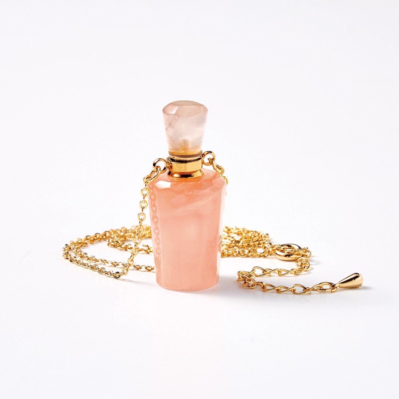 魔法部 小さな香水瓶で香りを持ち運ぶ 天然石ネックレス〈ローズクオーツ〉