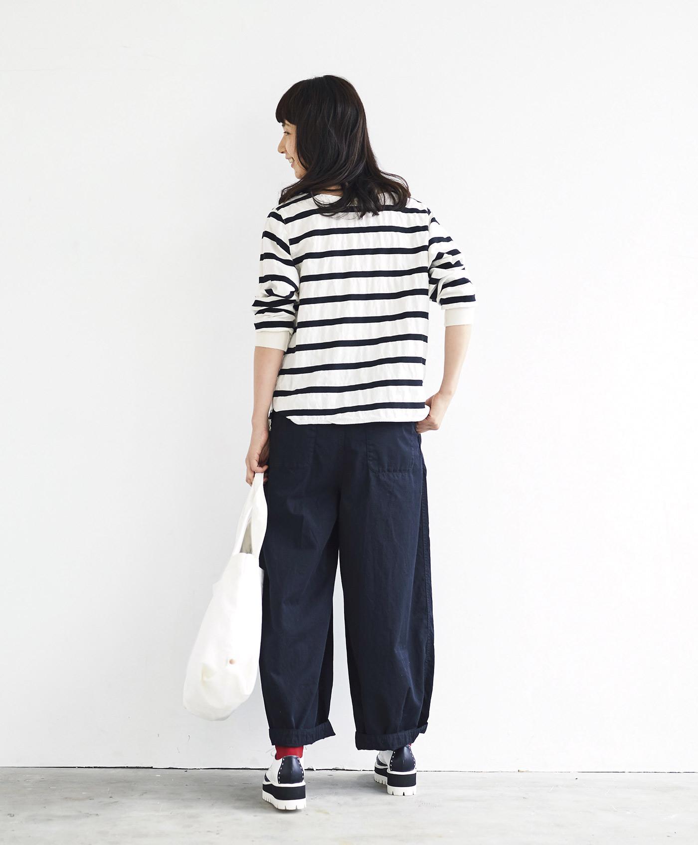 サニークラウズ 変わり織りボーダーTシャツ<レディース>白