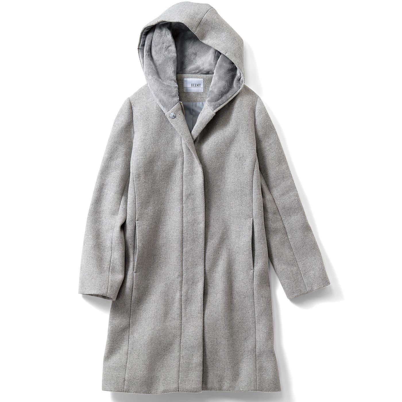 IEDIT ウール混フード付き きれいめコート〈ライトグレー〉