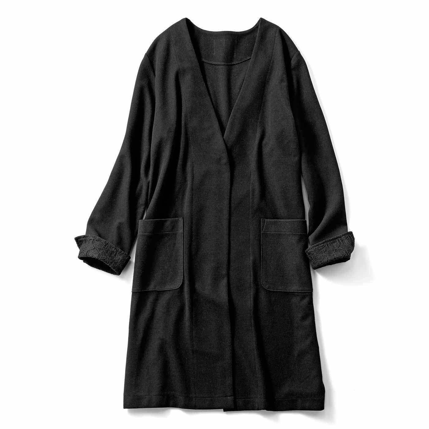 リブ イン コンフォート さっとはおってきちんと見えする ほどよい厚みのカットソーロングジャケット〈ブラック〉