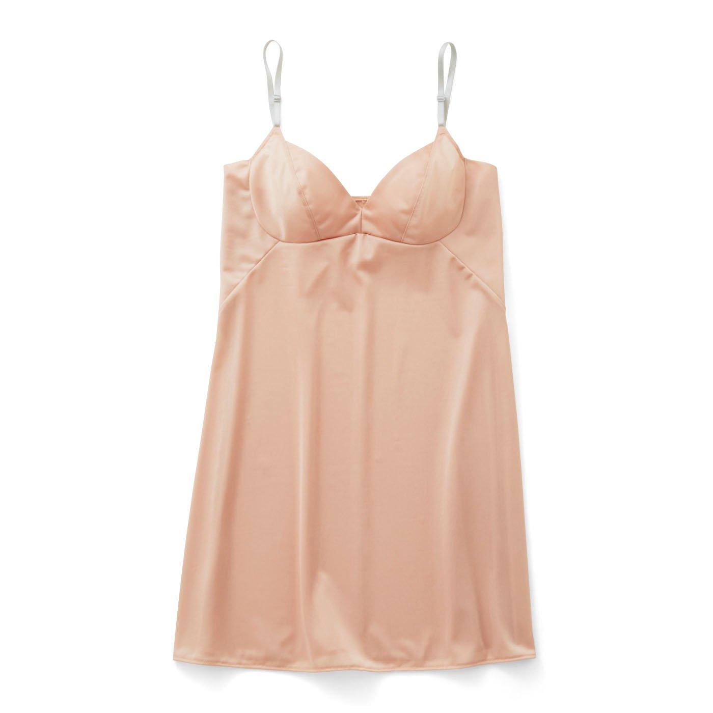 これ一枚で着やせ印象! 大人女子のスリップドレス〈ピンクベージュ〉