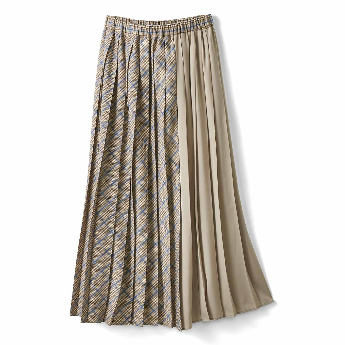 IEDIT[イディット] 着こなしいろいろチェック&サテンのプリーツスカート〈グレージュ〉