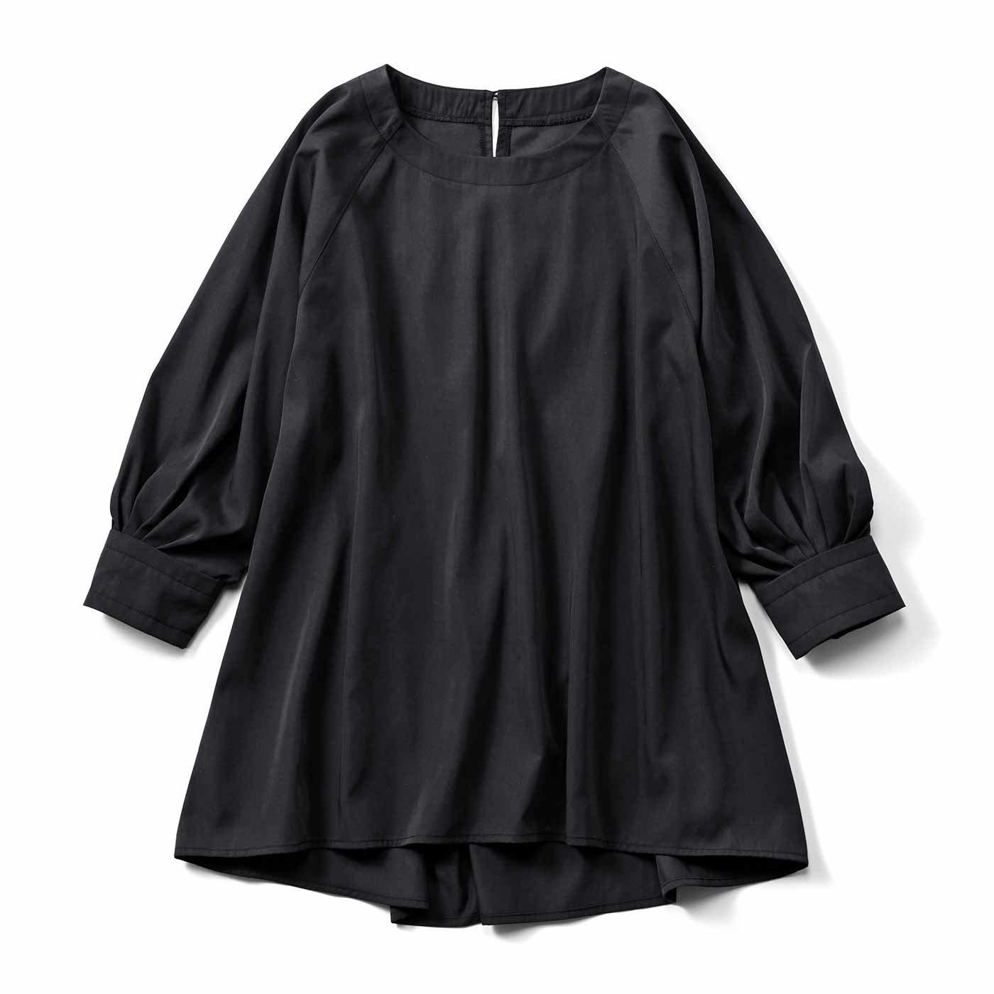 IEDIT[イディット] タックスリーブの着映えフレアートップス〈ブラック〉