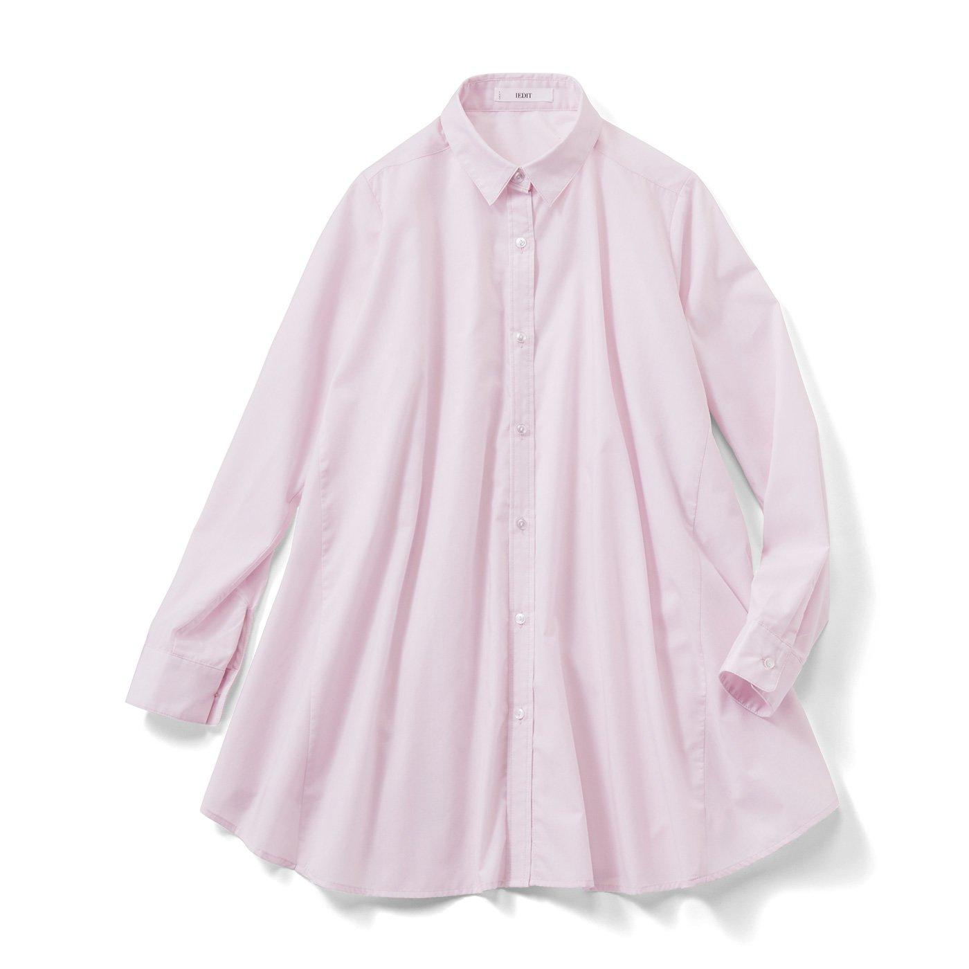 IEDIT[イディット] たっぷりフレアーが印象的なAラインシャツチュニック〈ライラックピンク〉