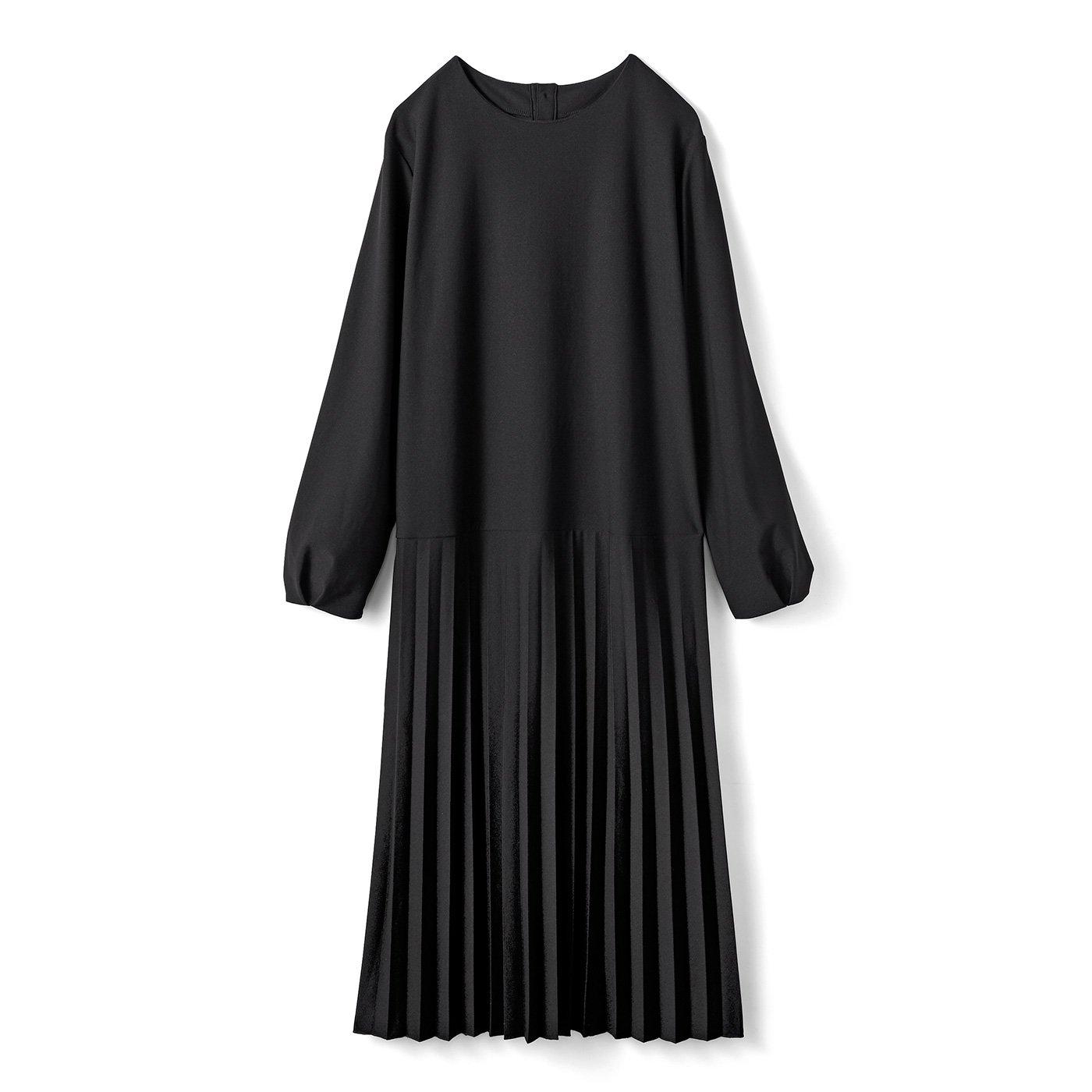 IEDIT[イディット] カットソージョーゼット素材できれいめ快適 プリーツスカート切り替え上品ワンピース〈ブラック〉