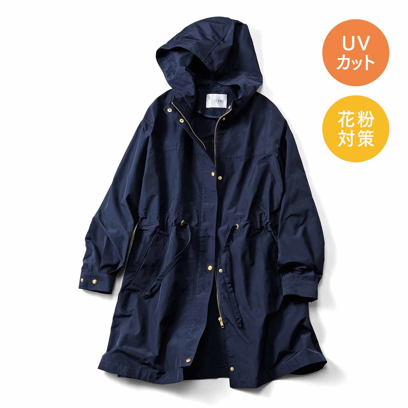 IEDIT[イディット] 花粉が付きにくい 背負えて便利なミドル丈フーデッドコート〈ネイビー〉