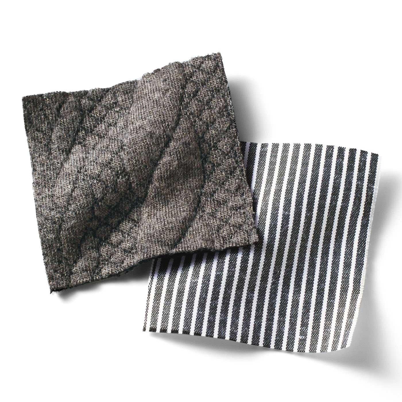 編み柄風のカットソーキルトとストライプのシャツ素材。