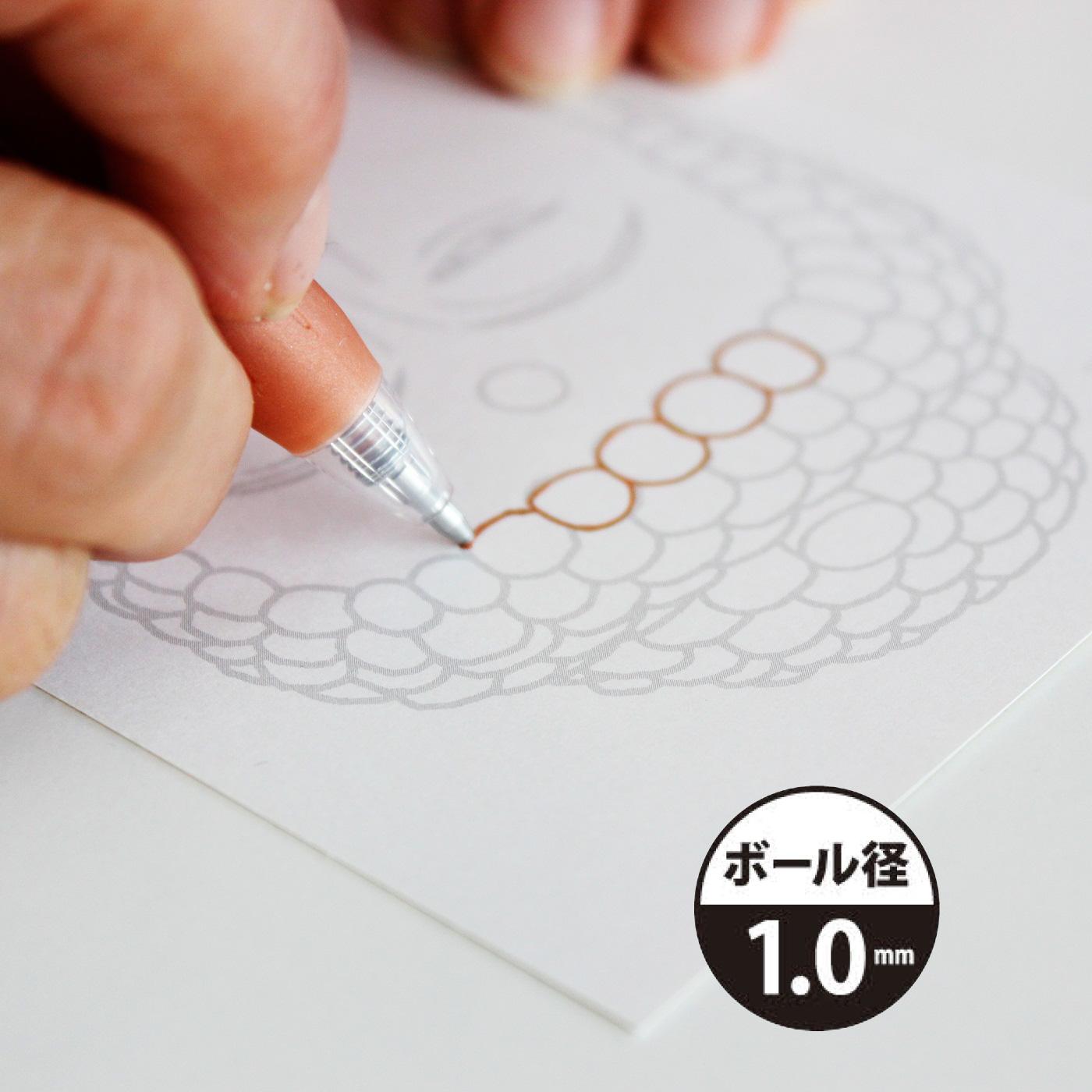 1.0mmタイプは、インクののりもよくてなめらかな書きごこち。
