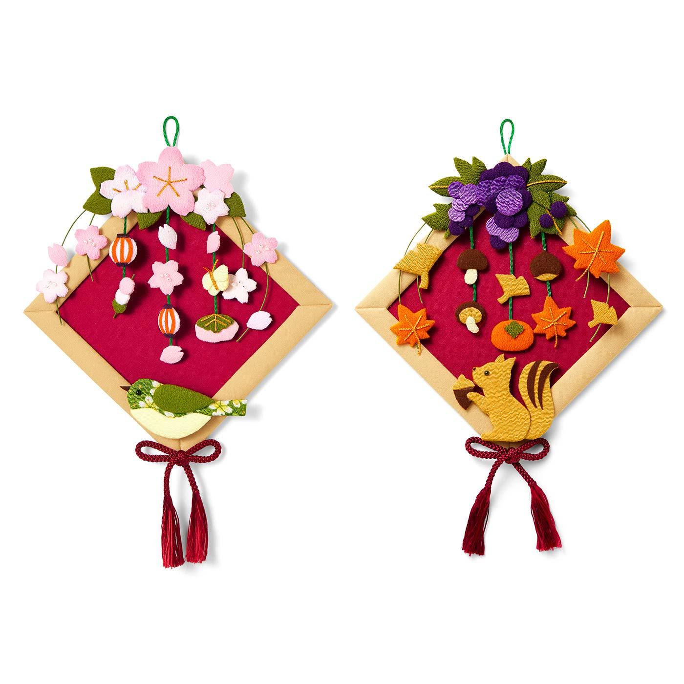 お花見と秋の実り 土台はひとつ、モチーフは2シーズン分作れます。