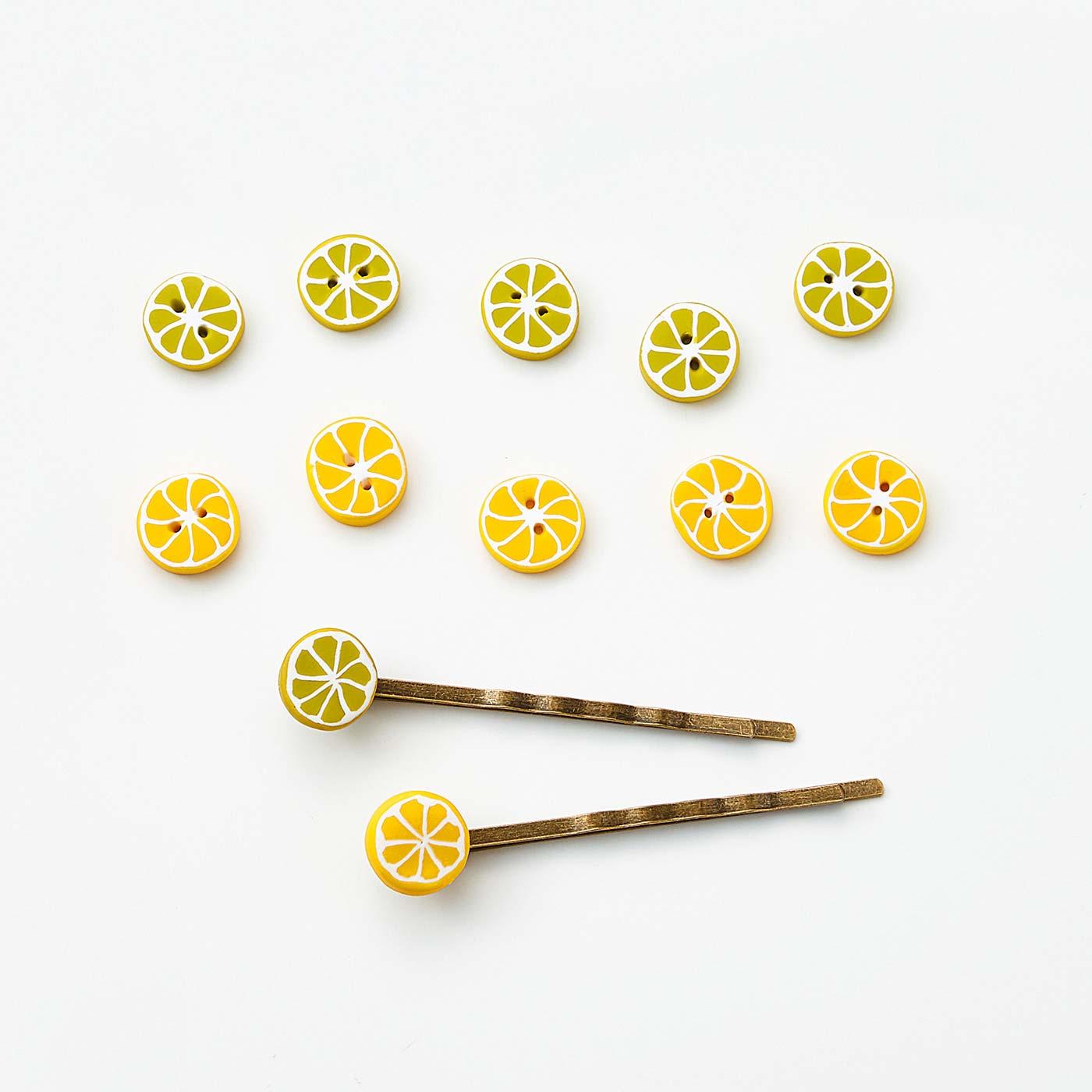 レモンとライムのボタンとヘアピン