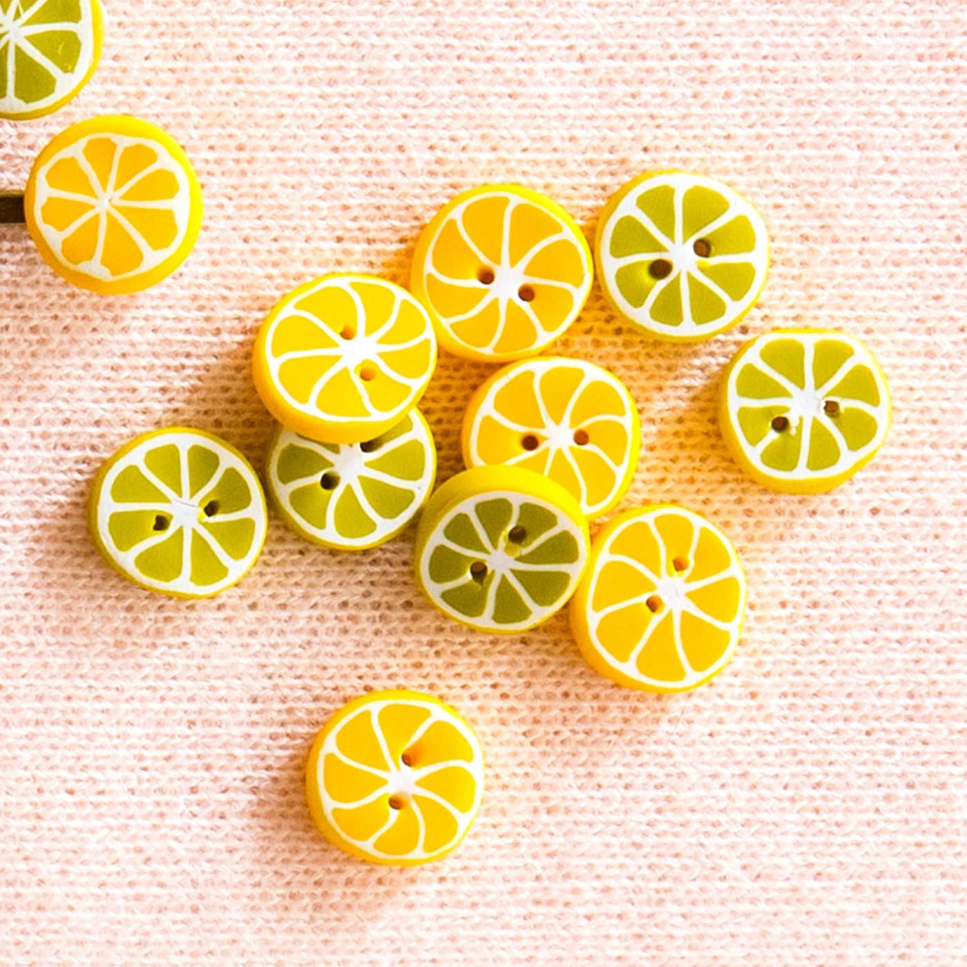 1回のお届けで作れるボタンの量(レモン約5個、ライム約5個)