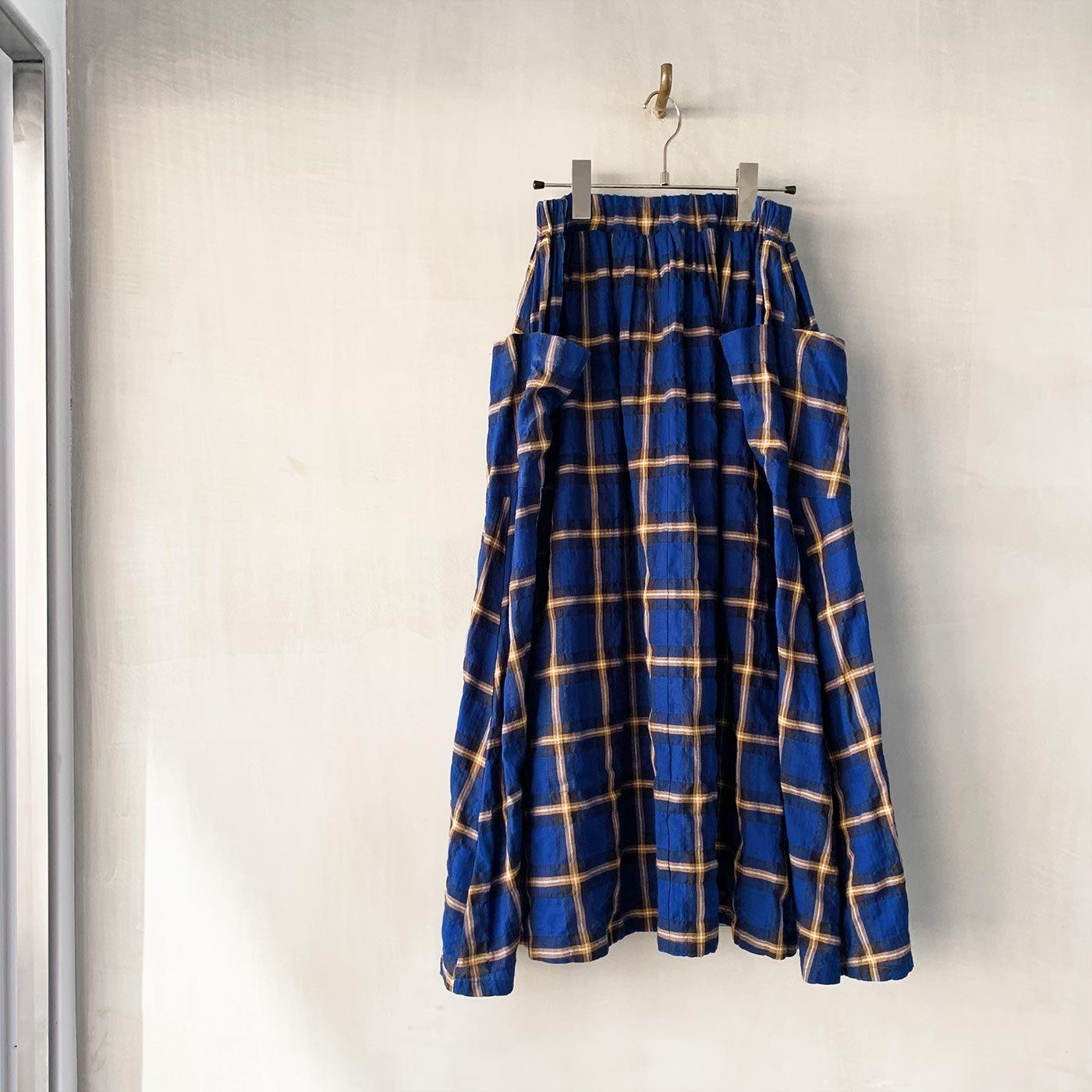 el:ment ヘリンボーンチェックの播州織生地が魅力 マルチポケットロングスカート