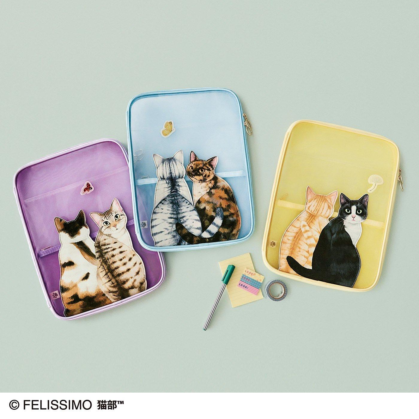 窓の外が気になるニャ ふり向く猫のメッシュA4ファイルポーチの会