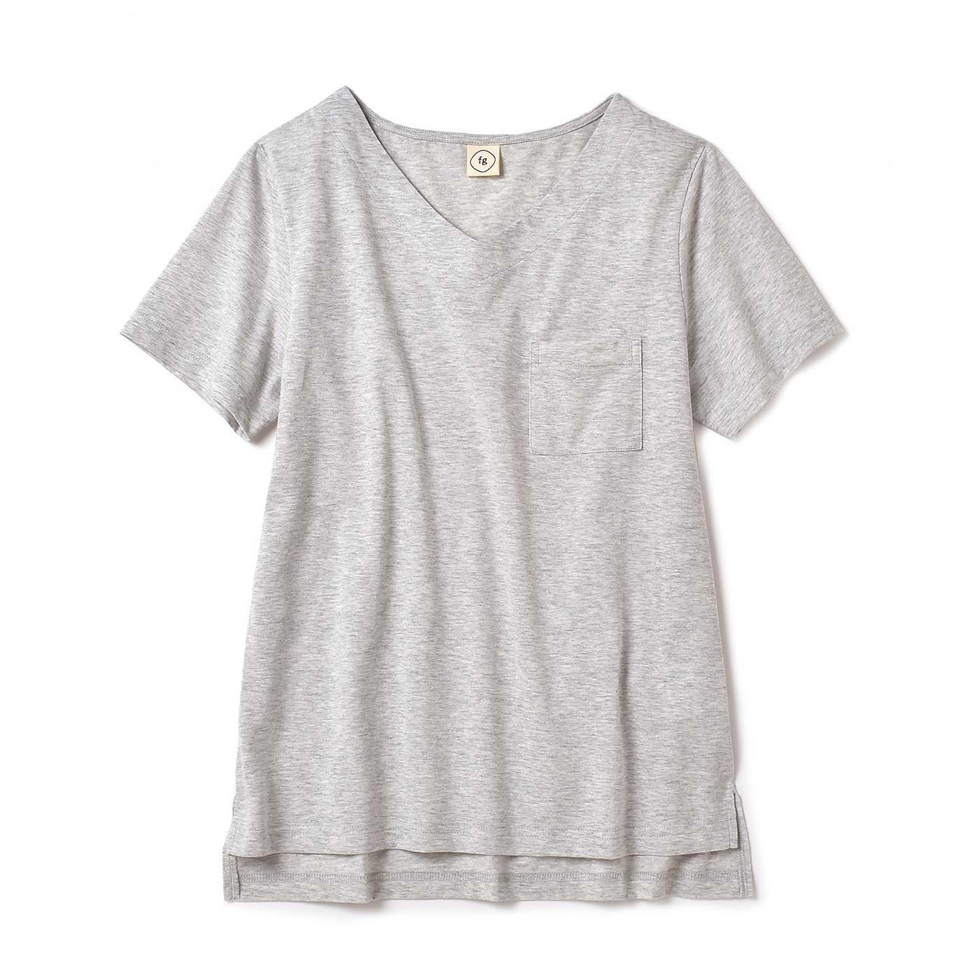 フラウグラット 定番ヘビロテ♪ ニュアンスグレーの 汗じみ対策Tシャツ〈19〉