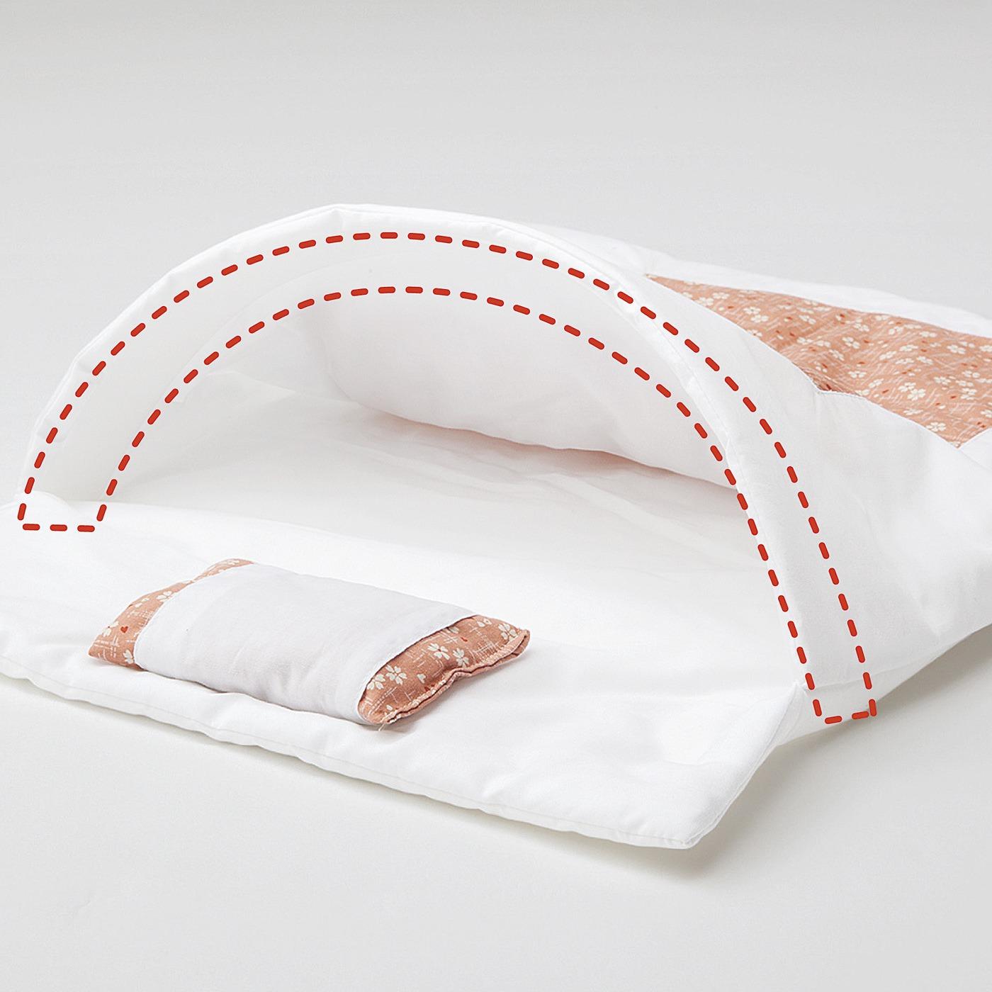 猫さんが入りたくなるよう、掛け布団の入り口に付属のプラスティックの芯を沿わせてアーチに。