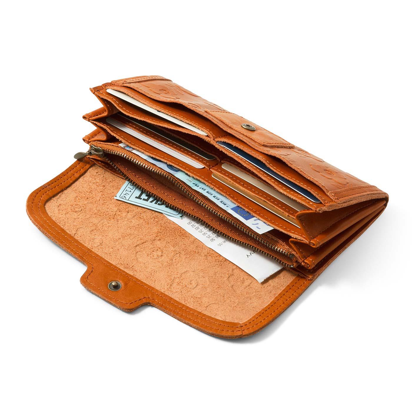 小銭入れはファスナー仕様。6つのカードポケットに便利なワイドポケットが2室。 大きく開くじゃばら式。ワンタッチで開いて、中身が見やすく、お会計もスムーズ。