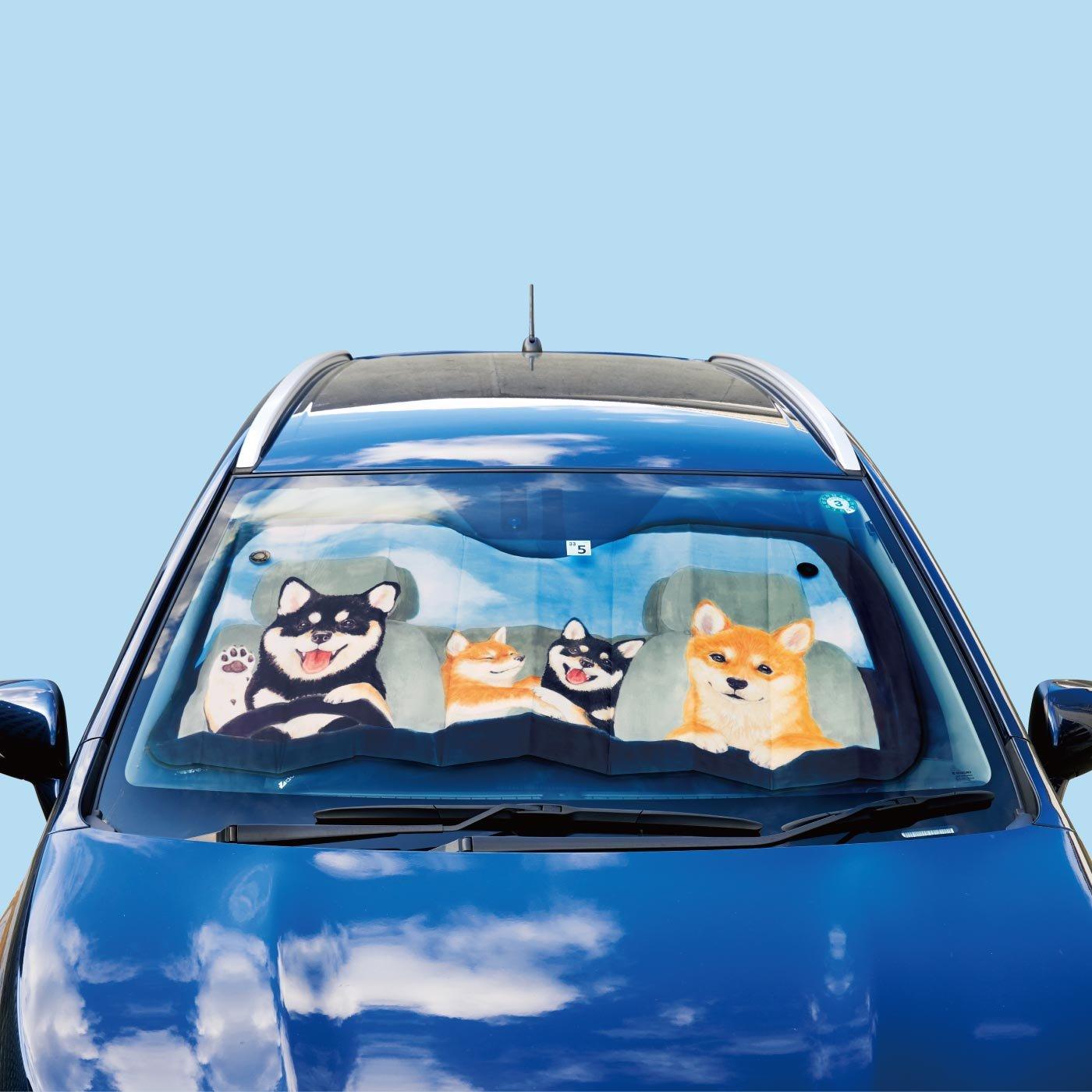 YOU+MORE! 一緒にドライブ気分の柴犬ワンシェード〈フロントガラス用〉