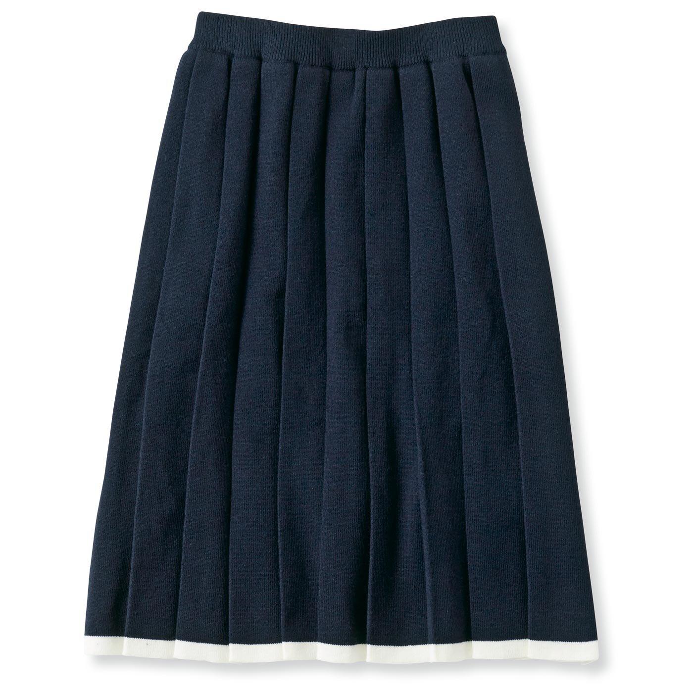 ナチュラル配色でおしゃれさん♪ニットプリーツスカート(ブラック)