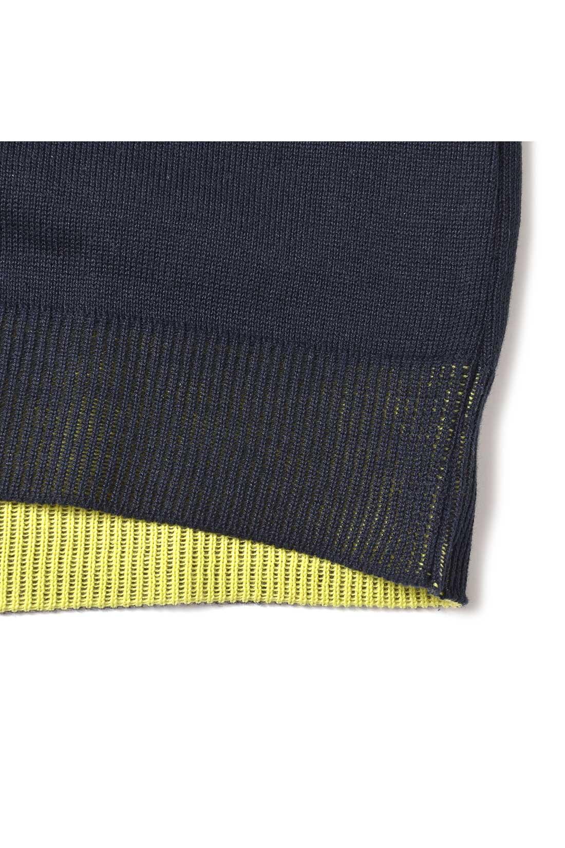 袖とすその内側は、配色遣いにしています。見えないところもこだわって。