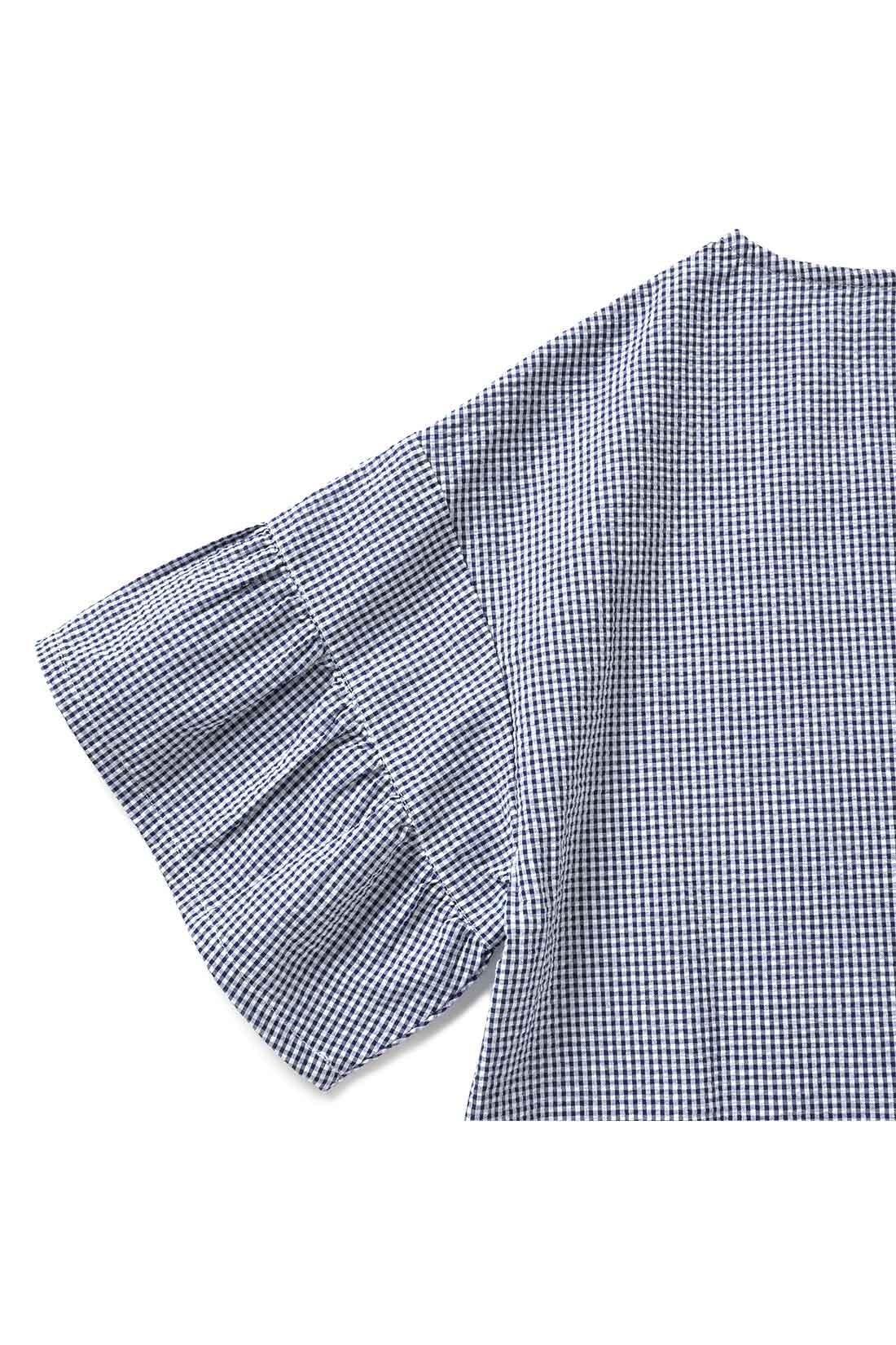 袖の先を切り替えて、ふんわりボリュームを出してみましたよ。