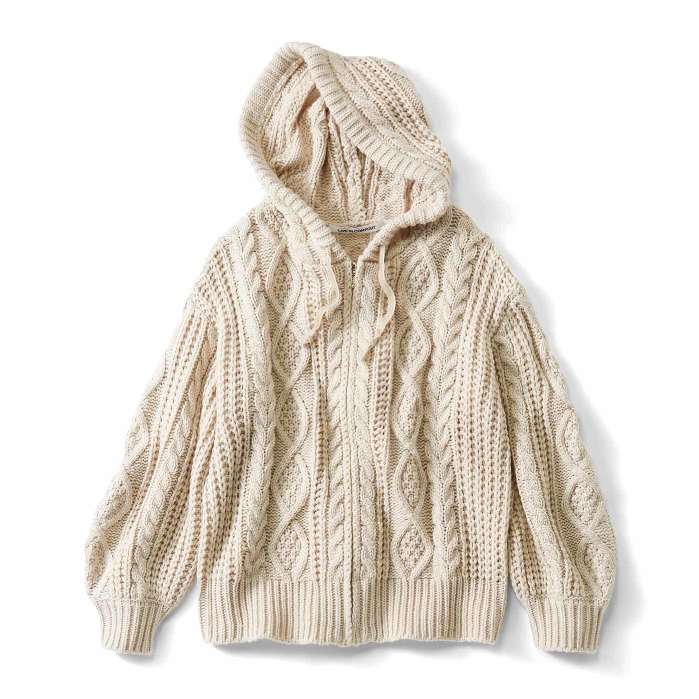 【3~10日でお届け】リブ イン コンフォート 季節の変わり目に大活躍 ざっくり編みニットパーカー〈アイボリー〉