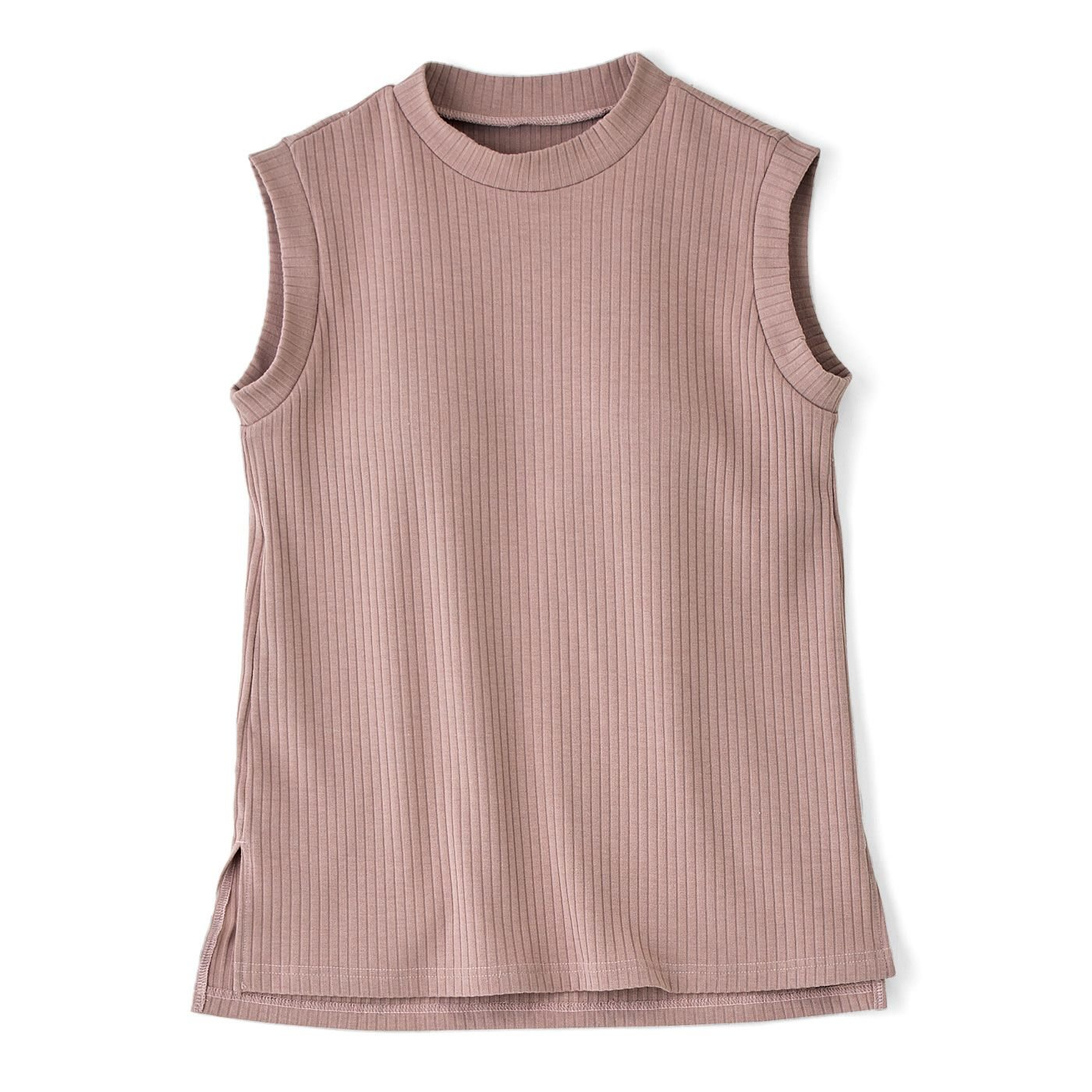 ワイドリブで華奢見え カップ付きノースリーブトップス〈ピンク〉