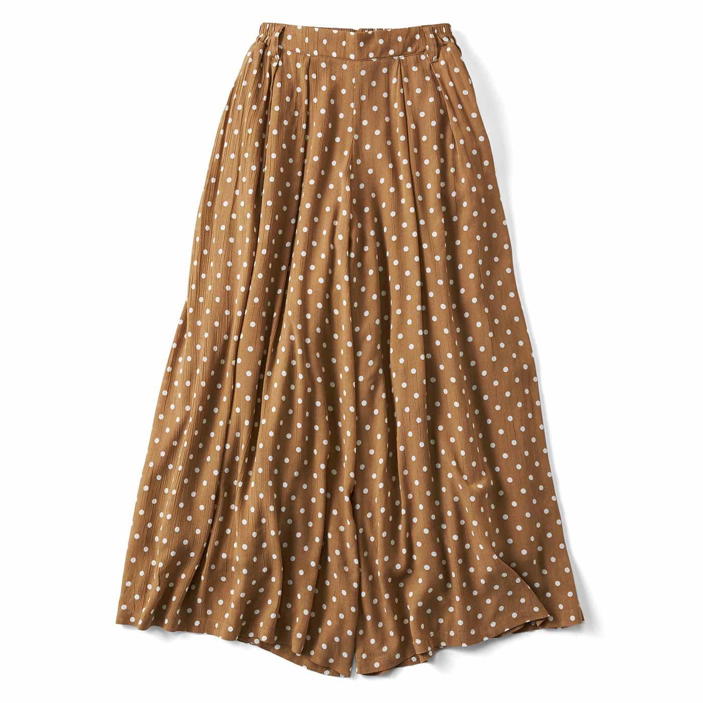 リブ イン コンフォート スカート見えする! コットン楊柳(ようりゅう)フレアーパンツ〈ベージュドット〉
