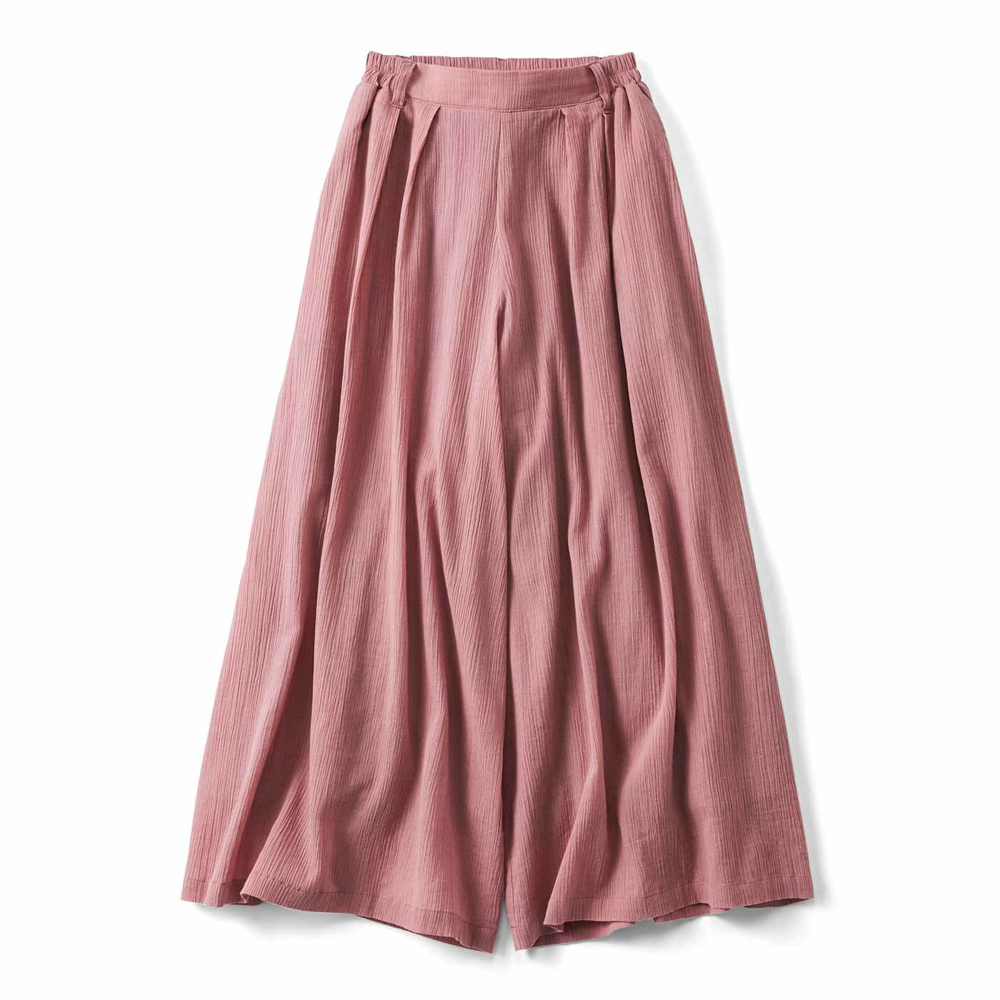 リブ イン コンフォート スカート見えする! コットン楊柳(ようりゅう)フレアーパンツ〈ピンク〉