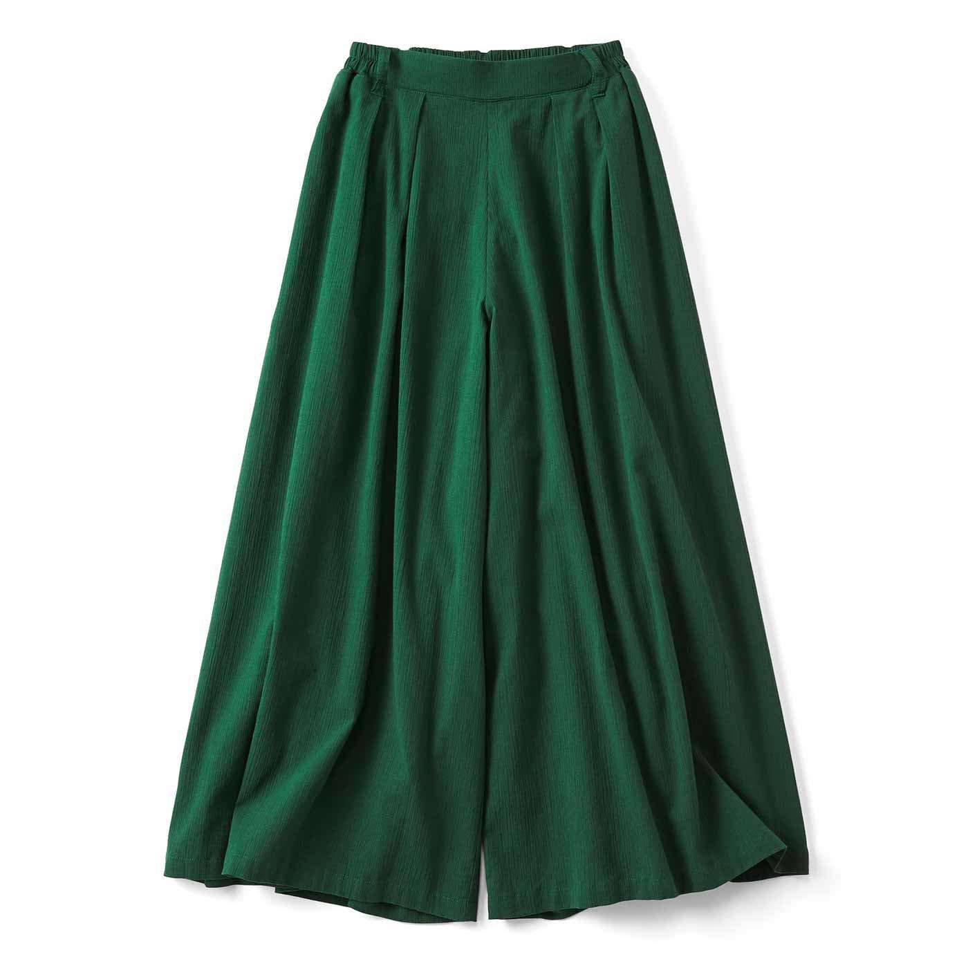 リブ イン コンフォート スカート見えする! コットン楊柳(ようりゅう)フレアーパンツ〈グリーン〉